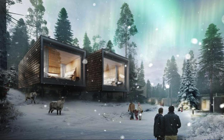 Arctic TreeHouse Hotel Rovaniemi Pinecones winter reindeers