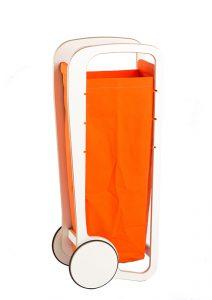 orange fleimio bag in a white fleimio trolley