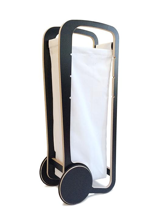 white fleimio bag in black fleimio trolley