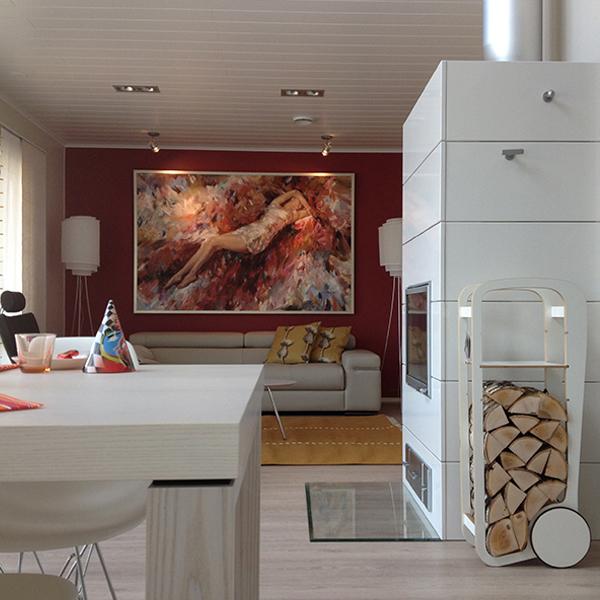 fleimio design trolley - white - with fireplace