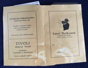 Haikosen kirjakaupan vanha mainos lähde Tuusulan museo